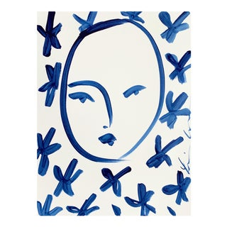 Face and Flowers Indigo by Leslie Weaver For Sale