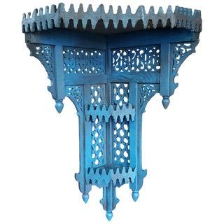 Moroccan Blue Wooden Corner Shelf For Sale