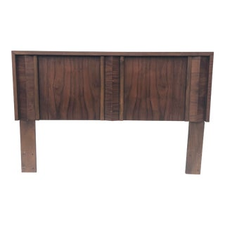 Mid-Century Modern Queen Size Walnut Headboard For Sale