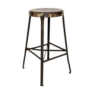 Antique Industrial Machine Age Metal Stool