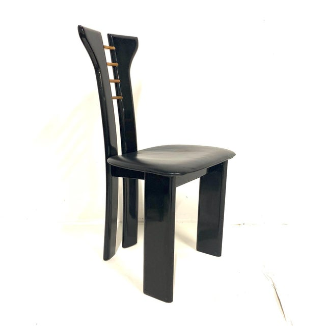 1970s Set of 4 Sculptural 1970s Black Lacquer Pierre Cardin Chairs With Leather Seats For Sale - Image 5 of 10