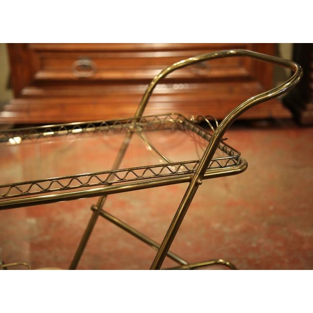 Mid-20th Century French Brass Cart With Removable Upper Tray - Image 10 of 10