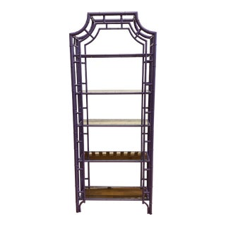 Purple Finish Metal Bamboo Etagere For Sale