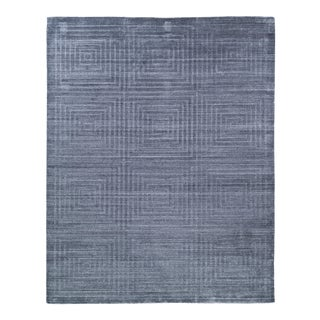 Exquisite Rugs Chesterfield Hand Loom Bamboo Silk Blue & Ivory - 9'x12' For Sale