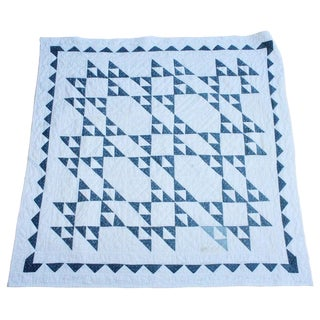 19th Century Blue and White Crib Quilt For Sale