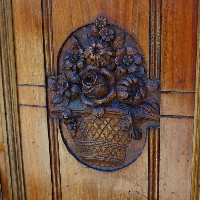 Antique Wooden Carved Cupboard With Several Carvings For Sale - Image 10 of 13