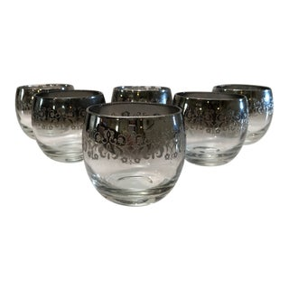 Mid Century Vitreon Queens Lusterware Silver Ombré Embossed Roly Poly Whiskey Glasses - Set of Six For Sale