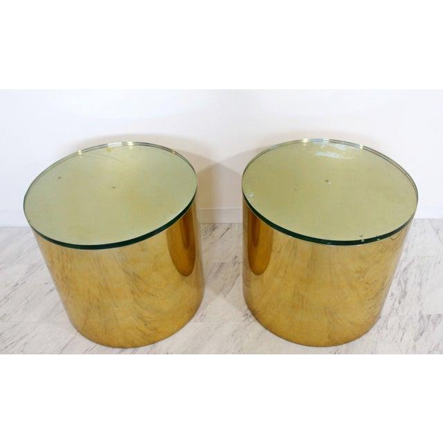 Mid-Century Modern Mid Century Modern Pair Brass Round Drum Side Tables Paul Mayen Habitat 1970s For Sale - Image 3 of 7