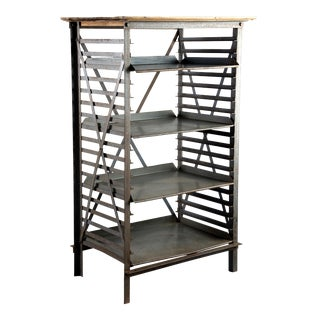 ndustrial Blue Metal Adjustable Shelf Unit For Sale