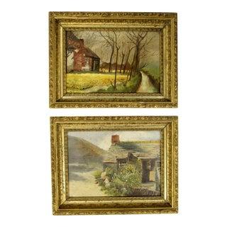 European Oil Landscape Paintings, Pair For Sale
