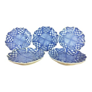 Blue & White Geometric Plates - Set of 5 For Sale