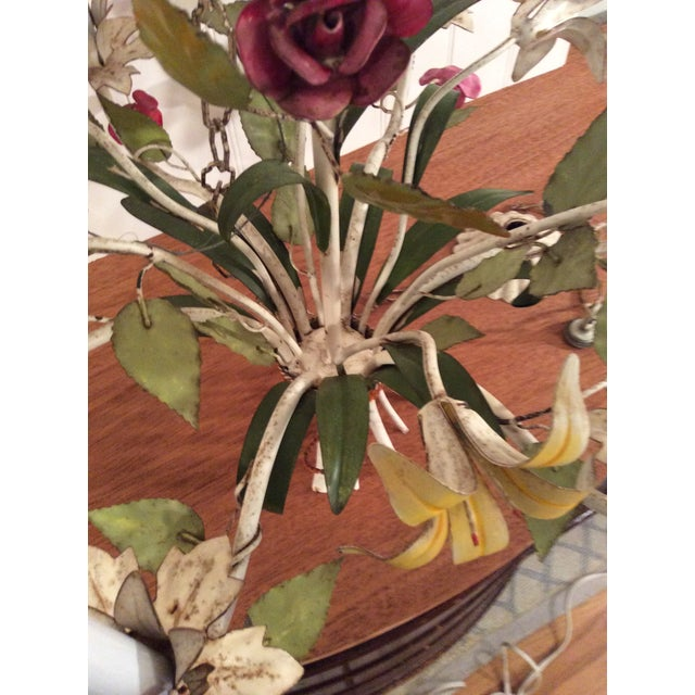1950s French Multi Colored Flower Toleware 6 Light Chandelier For Sale In New York - Image 6 of 10