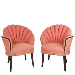 Pair of 40's Deco Opposing Channel Back Chairs For Sale