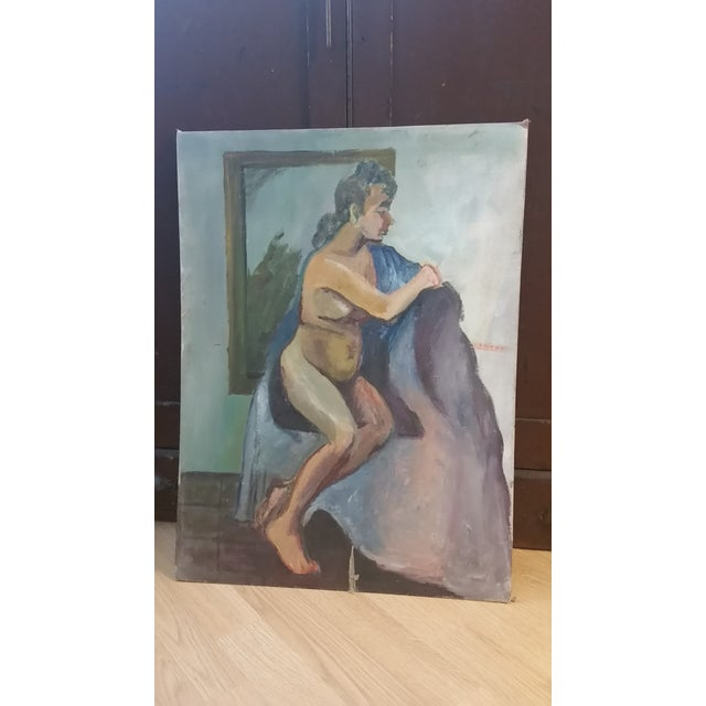 Nude Oil on Board Painting, 1940s - Image 11 of 11