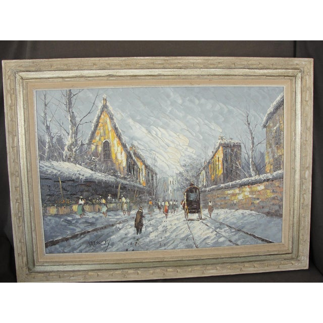 Mid-Century Modern Impressionist Winter Cityscape by Kressley. This is a beautiful and large mid century modern oil on...