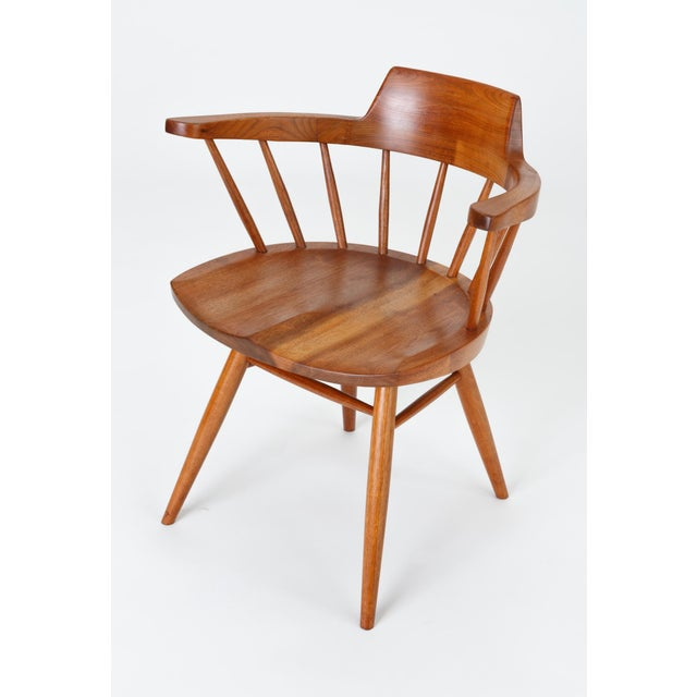 Single Black Walnut Captain's Chair by George Nakashima Studio For Sale - Image 11 of 13