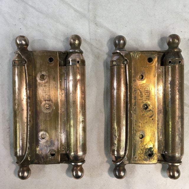 Antique 1905 Brass-Plated Swinging Door Hinges - a Pair For Sale - Image 10 of 10