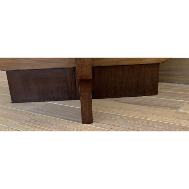 Coffee Italian Round Art Deco Burl Walnut Coffee Side Table With Ebonized Legs For Sale - Image 8 of 9