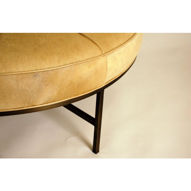 """2010s Contemporary """"Tambour"""" Natural Hide and Brass Ottoman For Sale - Image 5 of 10"""