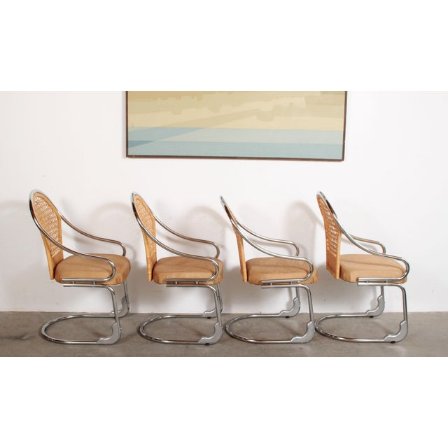 Mid 20th Century Mid Century Modern Italian Chrome & Woven Rattan Wicker Dining Chairs - Set of 4 For Sale - Image 5 of 11