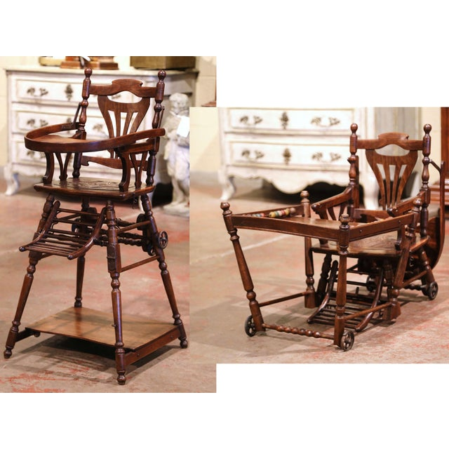 Mid-20th Century French Carved Folding Up and Down Child High Chair on Wheels For Sale - Image 13 of 13