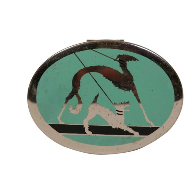 Art Deco Chrome Box with Dogs on Leashes For Sale