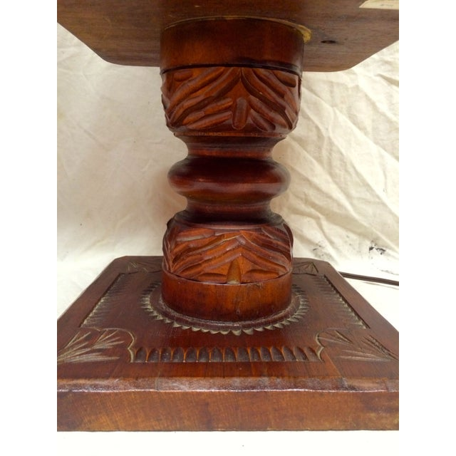 Hand Carved Wood Pagoda Lamps - A Pair For Sale - Image 4 of 5