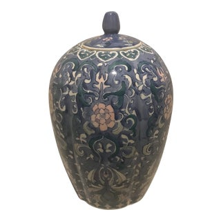 Vintage Large Blue & White Chinoiserie Hand Painted Pastel Ginger Jar