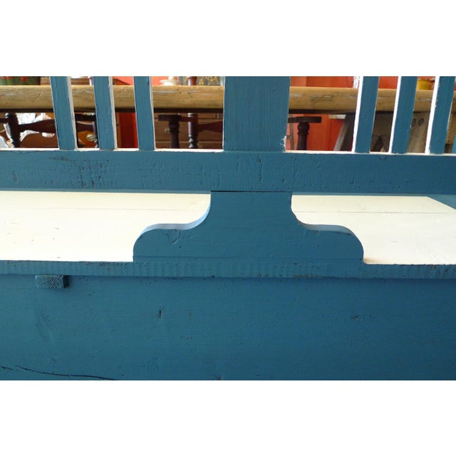 Blue 19th Century French XIX Long Painted Bench For Sale - Image 8 of 13