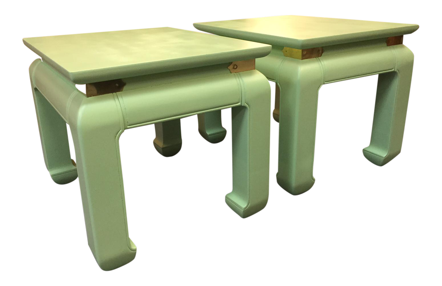 1970s Asian Solid Wood And Brass Side Tables   A Pair