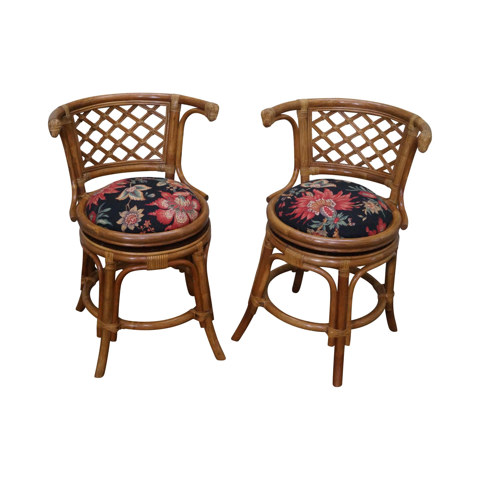Genial Vintage Rattan Bamboo Swivel Barrel Back Chair   2