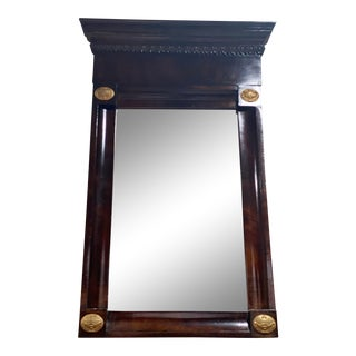 1790s-1810 Federal Mahogany Mirror with Original Brass Cabochons For Sale