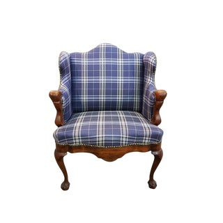 19th Century Antique Louis XV French Small Walnut Winged Armchair Newly Upholstered and Claw Feet For Sale