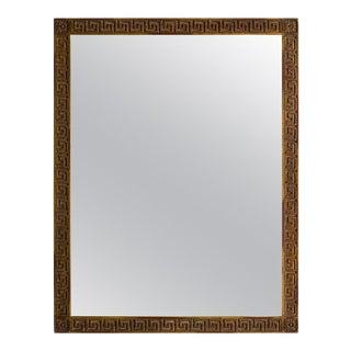 Wood Gold Finish Greek Key Mirror For Sale