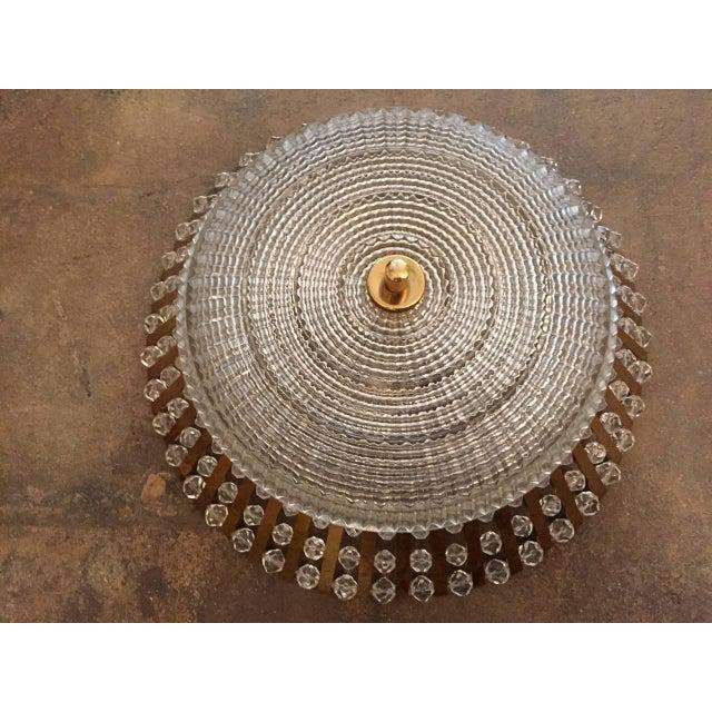1950s Stejnar Austrian Crystal Flush Light Pendant For Sale - Image 10 of 11