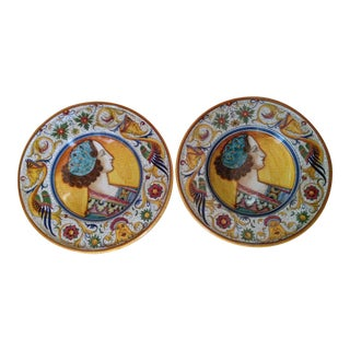 Deruta Italian Hand-Painted Wall Chargers - a Pair For Sale