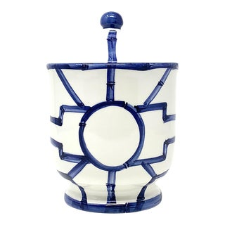 Bamboo Fret Cotton Jar in Navy For Sale