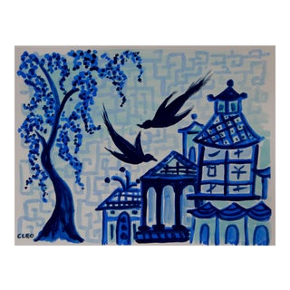 Blue Willow Inspired Landscape Painting by Cleo For Sale
