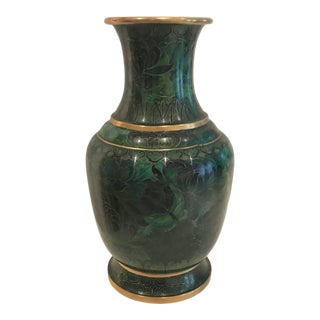 1970s Enamel Cloisonnne Vase on Metal For Sale