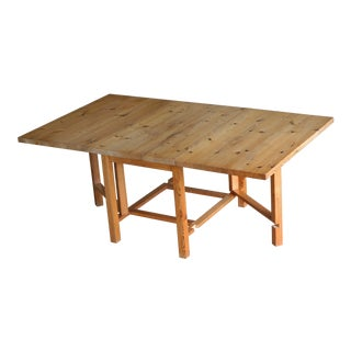 Danish Rustic Extension Dining Table Made From Solid Knotty Pine Planks For Sale