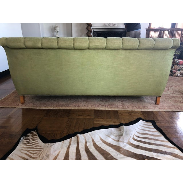 1980s Vintage Tufted Sleigh Back Sofa For Sale - Image 4 of 8