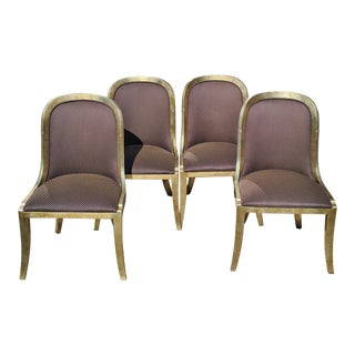 """Vintage 20th Century French """"Donghia"""" Style Gilt Chairs - Set of 4 For Sale"""