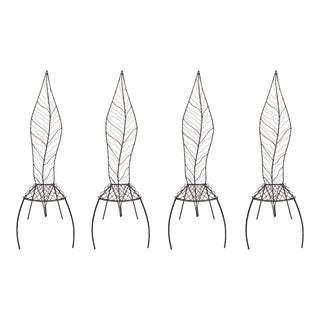 Contemporary Tall Metal Leaf Back Ornamental Garden Accent Chairs - Set of 4