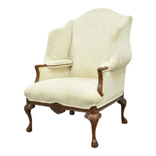 Oversized Carved Mahogany Ball and Claw Chippendale Style Wingback Arm Chair For Sale