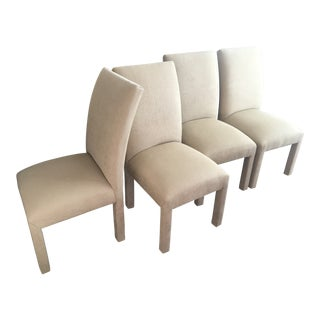 1990s Vintage Parsons Tan Clothed Covered Chairs- Set of 4 For Sale