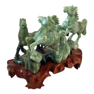 Chinese Hand Carved Jade Jadeite Horses Sculpture on Wood Base For Sale