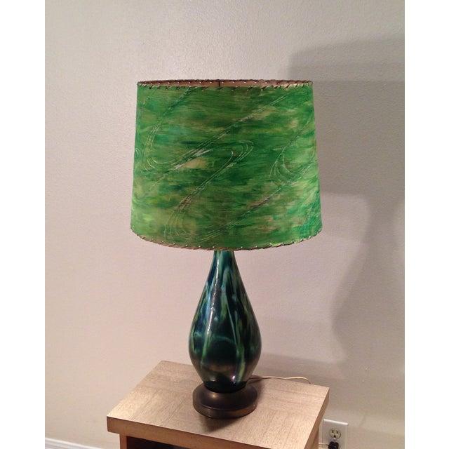 Mid-Century Green Ceramic Lamp & Handpainted Shade - Image 3 of 9