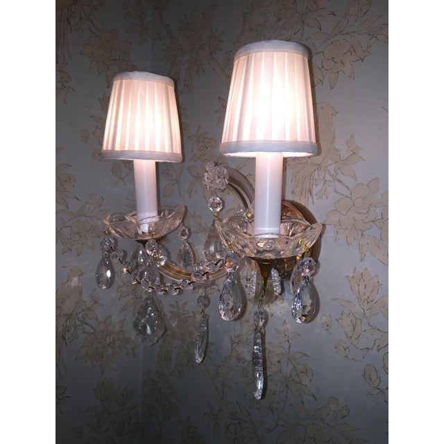 French Crystal Sconces - Pair - Image 3 of 6