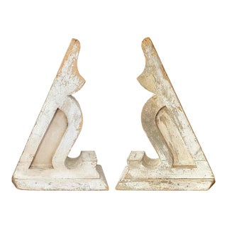Early 20th Century Wooden Architectural Corbels With Distressed Paint - a Pair For Sale