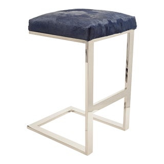 Navy Hair-On-Hide Hot Toddy Counter Stool For Sale